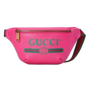 Gucci Pink Leather Gucci Print Small Belt Bag Cros